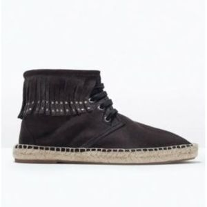 Zara Black Suede Moccasin Espadrilles - Size 6